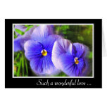 Purple Pansy Anniversary Card; Frosted Pansies