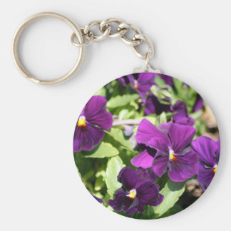 Purple Pansy Basic Round Button Key Ring