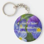 Purple Pansy - Cheerfulness Basic Round Button Key Ring