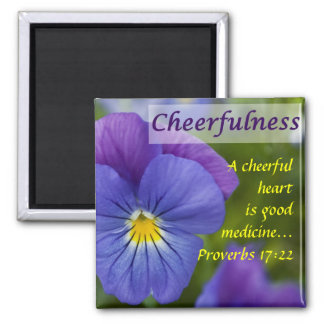 Purple Pansy - Cheerfulness Square Magnet