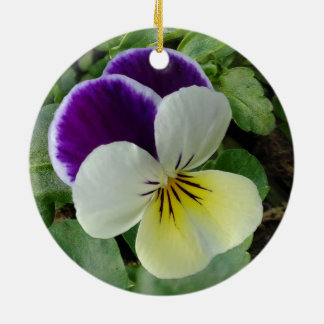 Purple pansy christmas ornament
