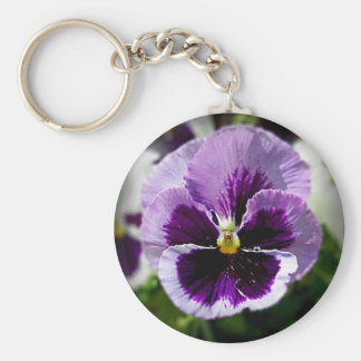 Purple Pansy Close Up Key Ring