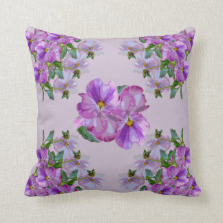 Purple Pansy Clusters Cushion