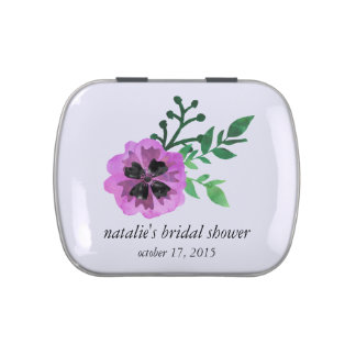 Purple Pansy Custom Bridal Shower Candy Favor Jelly Belly Tin