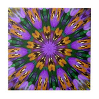 Purple Pansy Floral Kaleidoscope Tile