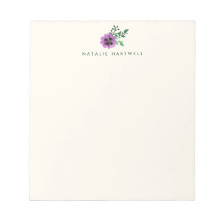 Purple Pansy Floral Personalized Notepad