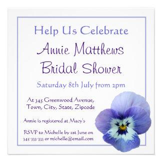 Purple Pansy Flower Bridal Shower Invite