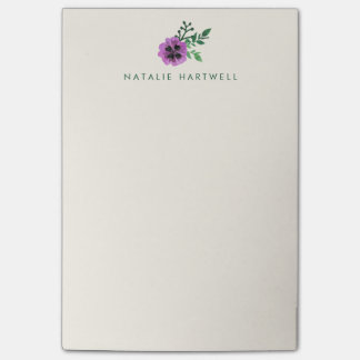 Purple Pansy Personalized Sticky Notes