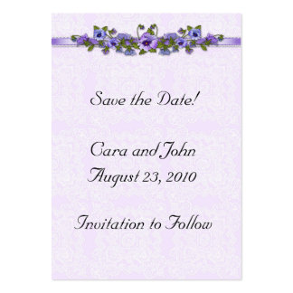 Purple Pansy Save the Date Business Cards