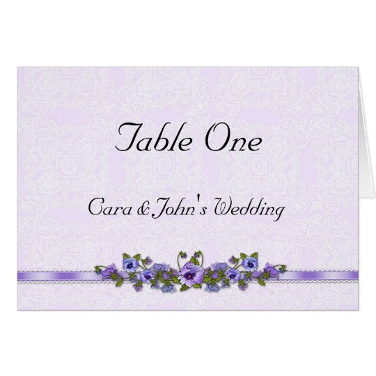 Purple Pansy Table Seating Card