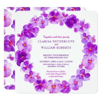 Purple pansy watercolor flower wedding invitations