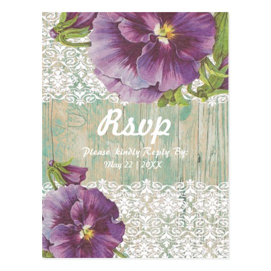 Purple pansy white lace with custom background postcard
