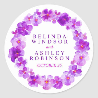 Purple pansy wreath custom watercolor stickers