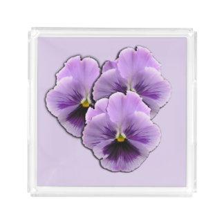 Purple Pansy's Flowers Acrylic Tray