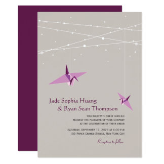Purple Paper Cranes Fairy Lights Wedding Invite