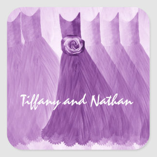 PURPLE Paper Doll Bridesmaid Dresses Square Sticker