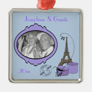 Purple Paris Themed Photo Keepsake Ornament