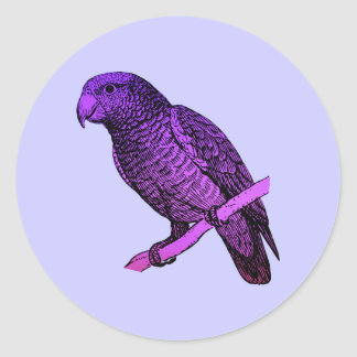 Purple Parrot Classic Round Sticker
