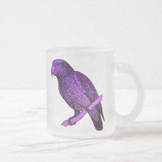 Purple Parrot Frosted Glass Coffee Mug
