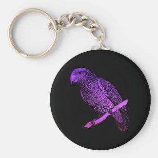 Purple Parrot Key Ring