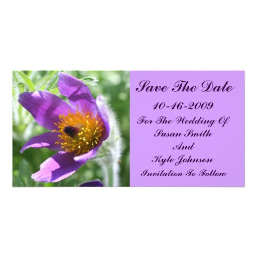 Purple Pasque Flower Wedding Save The Date Photo Cards