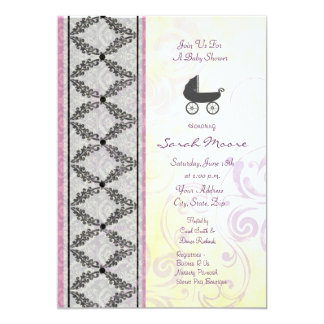 "Purple Passion Baby Carriage 5"" X 7"" Invitation Card"
