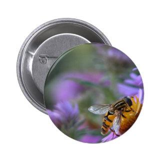 Purple Passion Bee Round Button