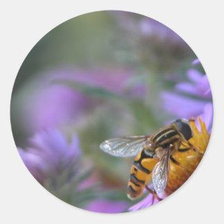 Purple Passion Bee Round Stickers