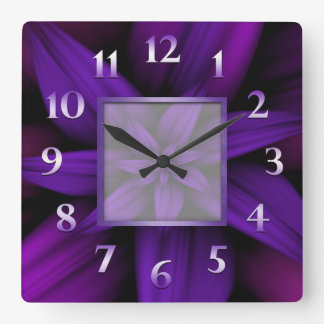 Purple Passion Floral Geometric Square Wall Clock