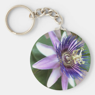 Purple Passion Flower Basic Round Button Key Ring