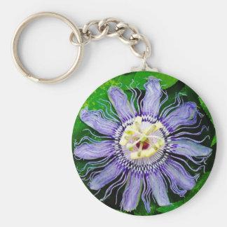 Purple Passion Flower... Basic Round Button Key Ring