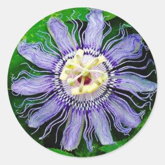 Purple Passion Flower... Round Stickers