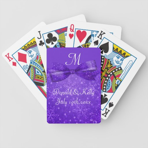 Purple Passion & Shimmer Snowflakes Wedding Bicycle Card Decks