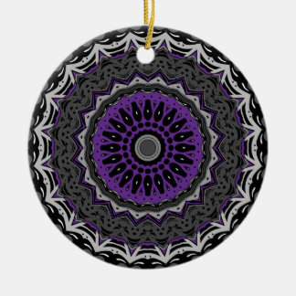 Purple Passion with Black and White Kaleidoscope Christmas Tree Ornament