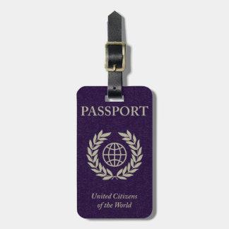 purple passport luggage tag