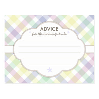 Purple Pastel Baby Shower Mommy to Be Advice Card Postcard