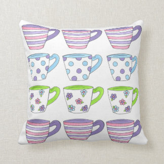 Purple Pastel Tea Cup Cups Teacups Party Pillow