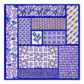 Purple Patchwork square card 13 Cm X 13 Cm Square Invitation Card