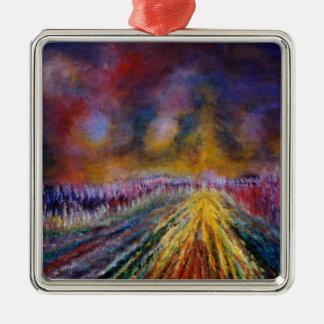 Purple Path Silver-Colored Square Decoration