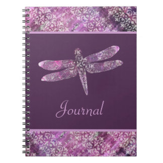 Purple Patina Dragonfly Spiral Notebooks