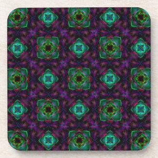 Purple Pattern Fractal Art Coasters