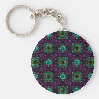 Purple Pattern Fractal Art Key Chains