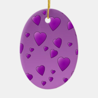 Purple Pattern of Love Hearts. Christmas Ornament