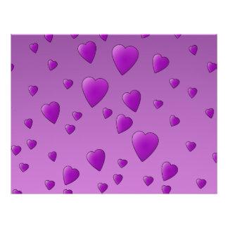 Purple Pattern of Love Hearts. Flyers
