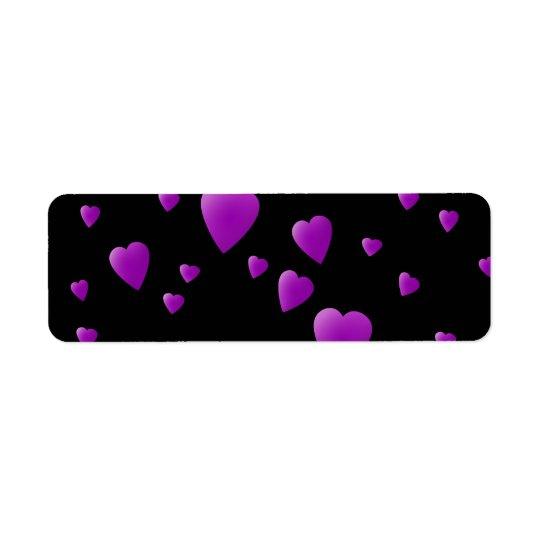 Purple Pattern of Love Hearts on Black.