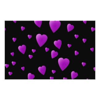 Purple Pattern of Love Hearts on Black. Flyers