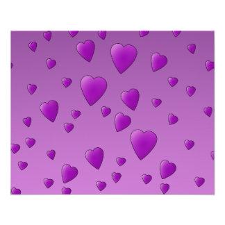 Purple Pattern of Love Hearts Personalized Flyer