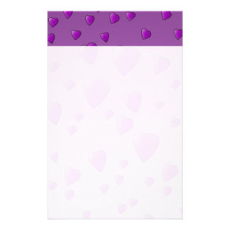 Purple Pattern of Love Hearts. Stationery
