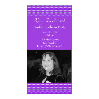purple pattern party personalised photo card