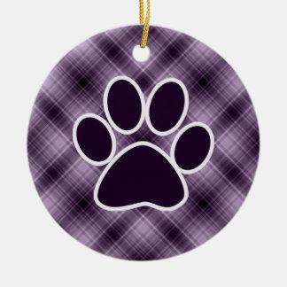 Purple Paw Print Christmas Ornament